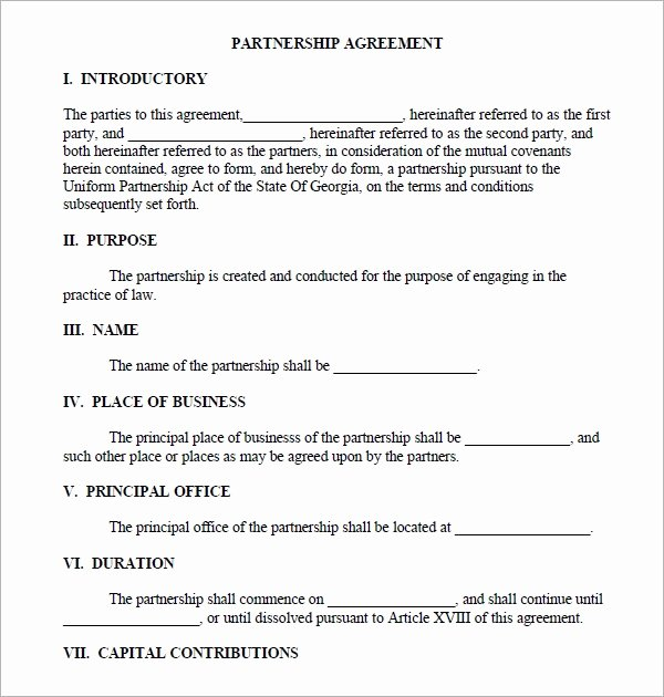 Business Partnership Agreement Template Unique Business Partnership Agreement 12 Download Documents In