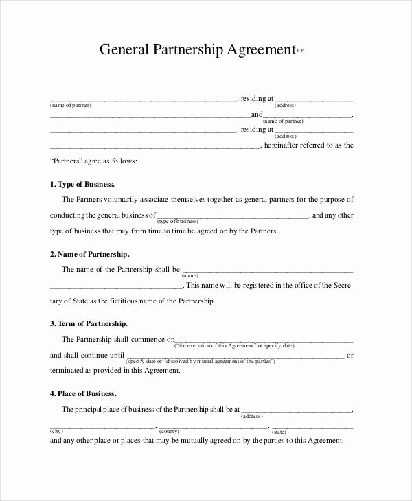 Business Partnership Agreement Template Unique General Partnership Agreement 15 Free Pdf Word
