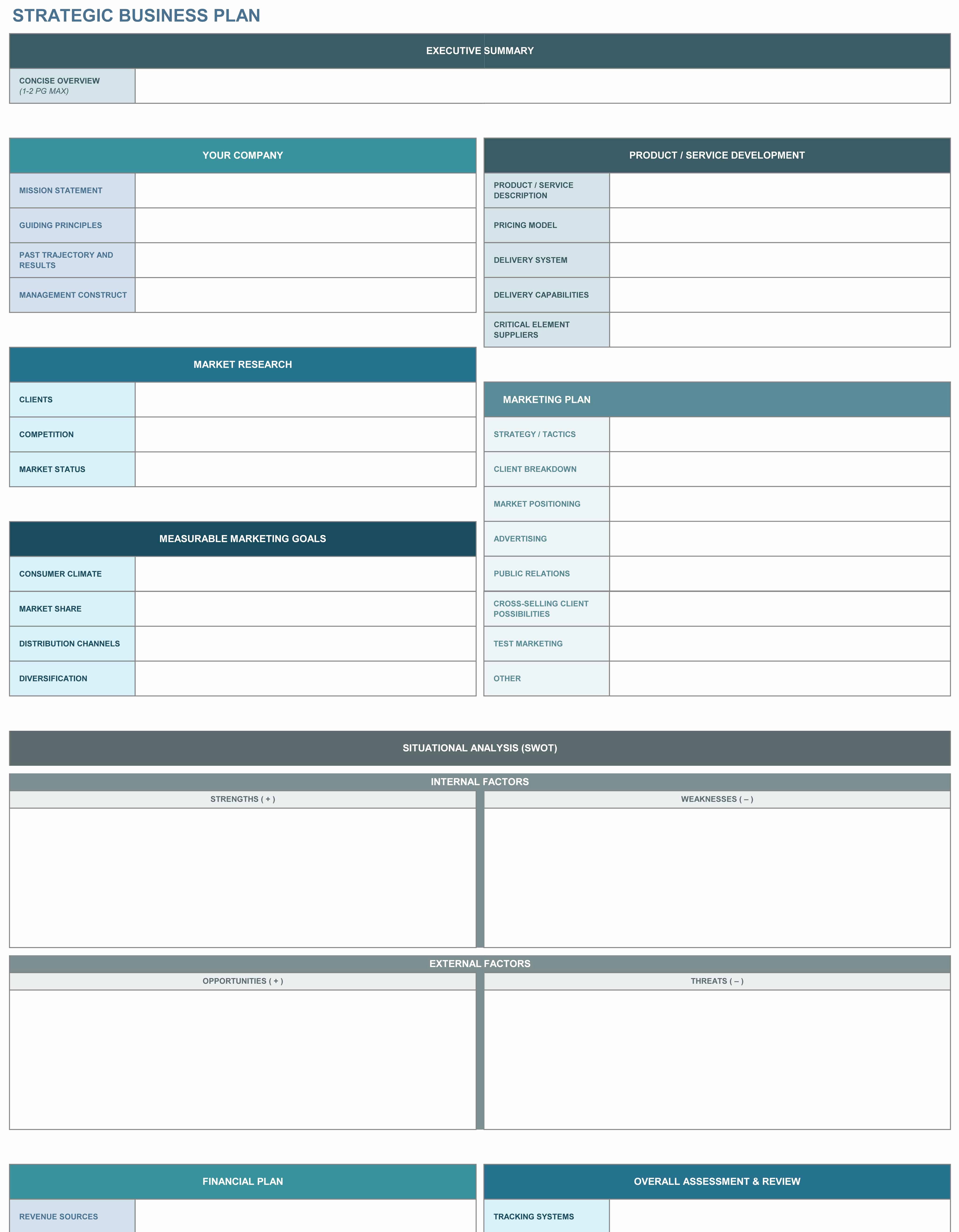 Business Plan Template Excel Awesome 9 Free Strategic Planning Templates Smartsheet