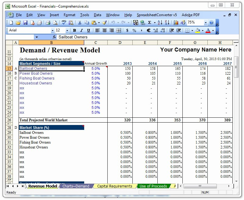Business Plan Template Excel Fresh Raise Capital Bizplanbuilder Business Plan software Template