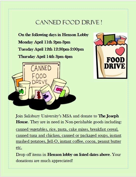 Can Food Drive Flyer Beautiful Salisbury University Muslim Students association