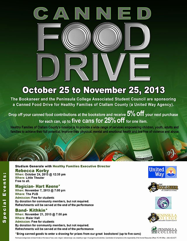 Can Food Drive Flyer Elegant Canned Food Drive