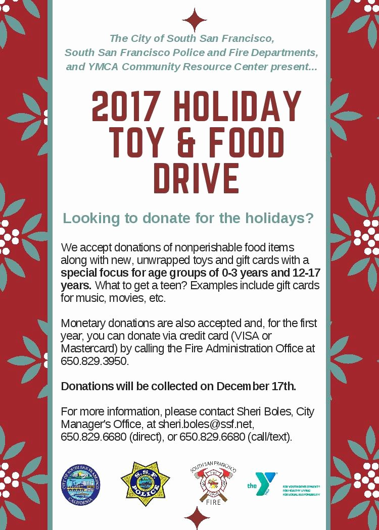 Can Food Drive Flyer Fresh City Of south San Francisco Announces 2017 Holiday toy and