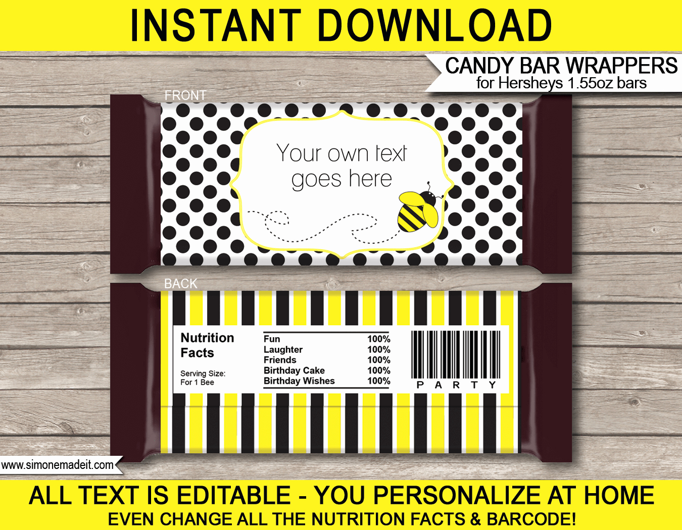 Candy Bar Wrapper Template Best Of Bee Hershey Candy Bar Wrappers