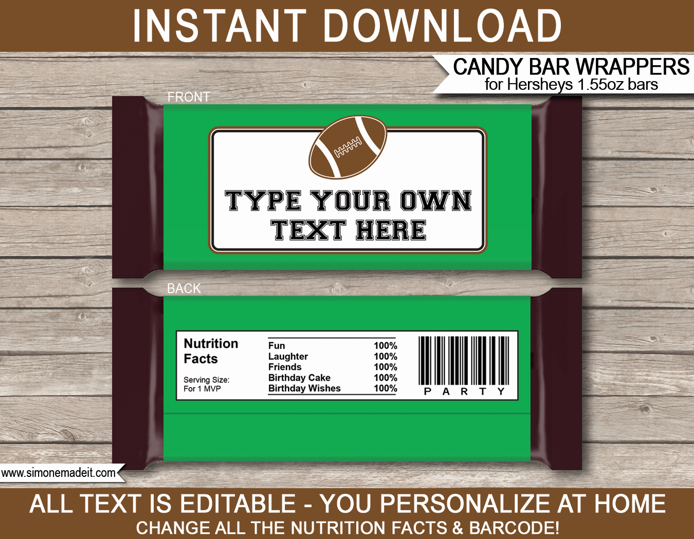 Candy Bar Wrapper Template Elegant Football Hershey Candy Bar Wrappers