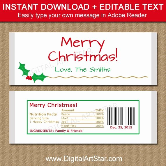 Candy Bar Wrapper Template Inspirational Christmas Candy Bar Wrapper Template Printable Holiday