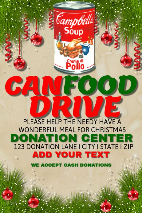 Canned Food Drive Flyer Beautiful Can Food Drive Template