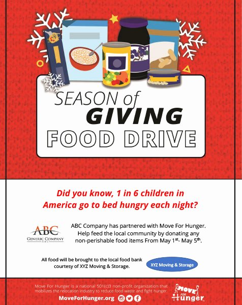 Canned Food Drive Flyer Fresh Start A Food Drive