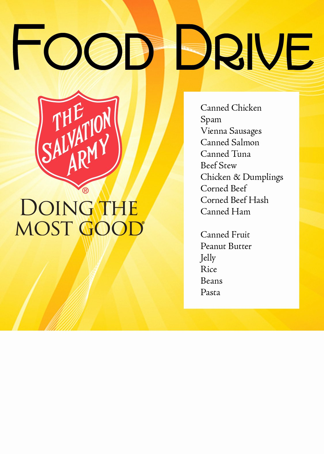 Canned Food Drive Flyer Fresh the Salvation Army – Naples Immokalee and Naples Food