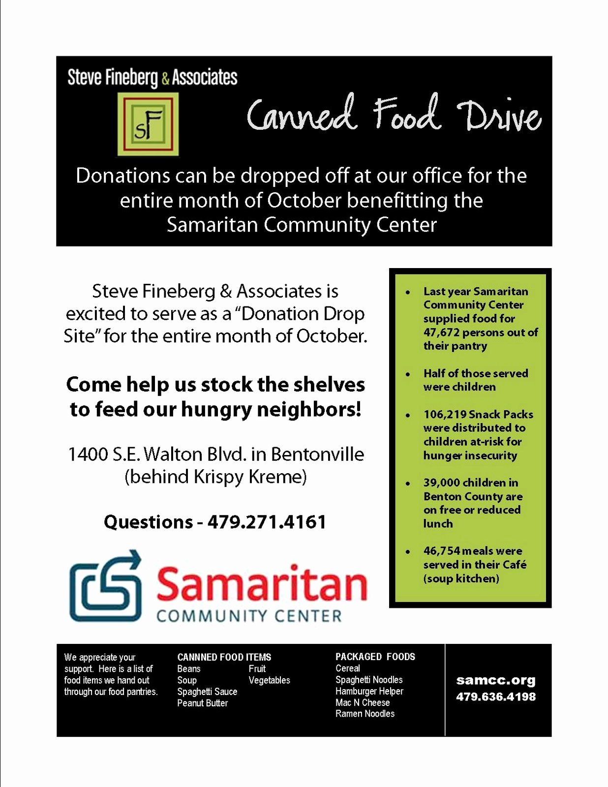 Canned Food Drive Flyer Inspirational Steve Fineberg & associates Corporate Responsibility