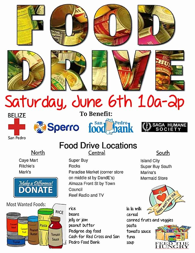 Canned Food Drive Flyer New Food Drive June 6 Ambergris Caye Belize Message Board