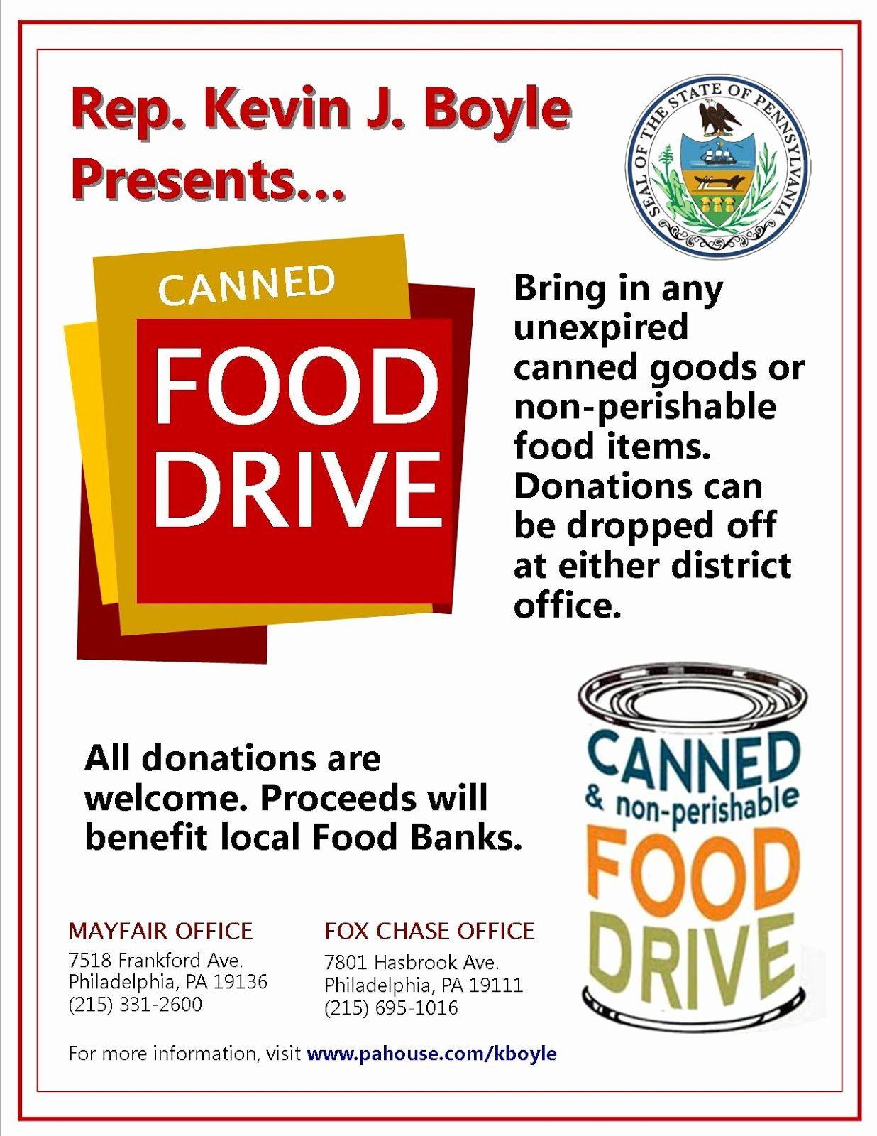 Canned Food Drive Flyer New Mayfair Civic association December 2012