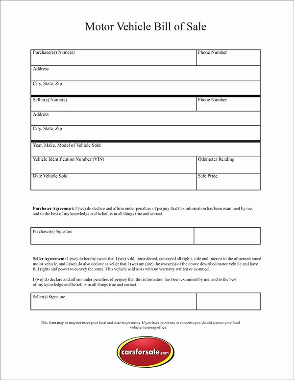 Car Bill Of Sale form Beautiful Free Printable Motor Vehicle Bill Sale