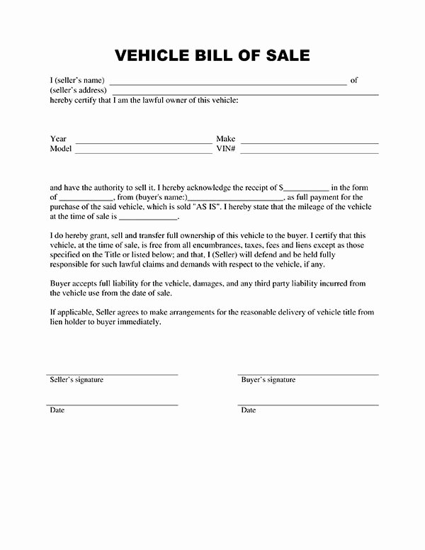 Car Bill Of Sale form Best Of Free Printable Vehicle Bill Of Sale Template form Generic