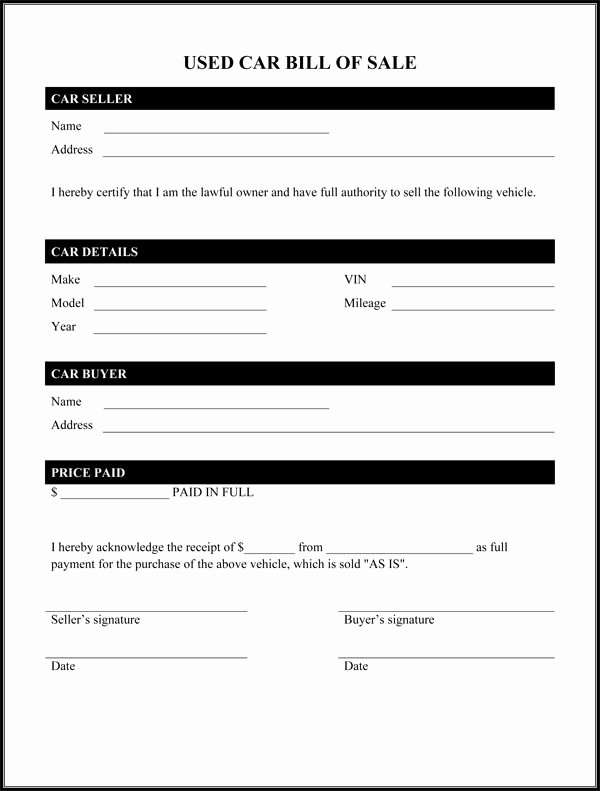 Car Bill Of Sale form Elegant Bill Of Sale form Template