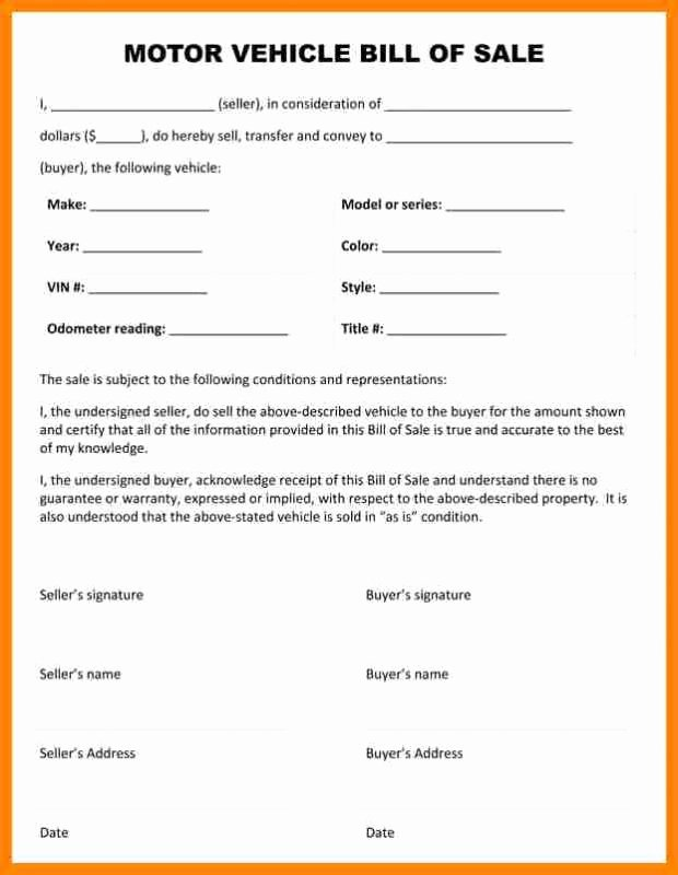 Car Bill Of Sale form Inspirational Car Bill Sale Pdf
