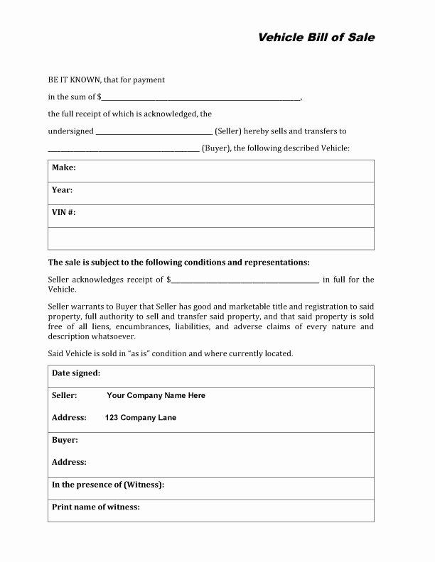 Car Bill Of Sale form Luxury Free Printable Auto Bill Of Sale form Generic