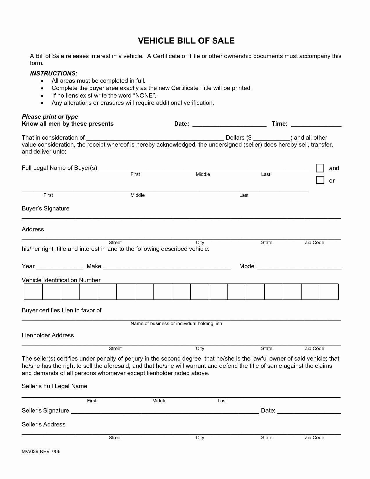 Car Bill Of Sale form New Free Printable Car Bill Of Sale form Generic