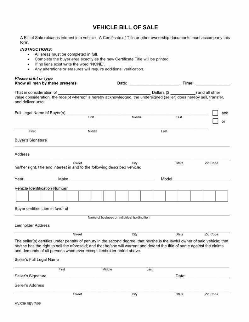 Car Bill Of Sale form New New Bill Sale for A Car form Free Download Picture