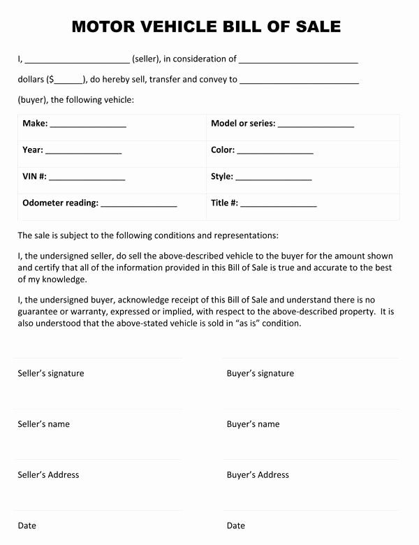 Car Bill Of Sale form Unique Motor Vehicle Bill Sale form forms In 2019