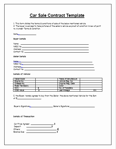 Car Sale Agreement Word Doc Elegant Car Sale Contract with Payments Template