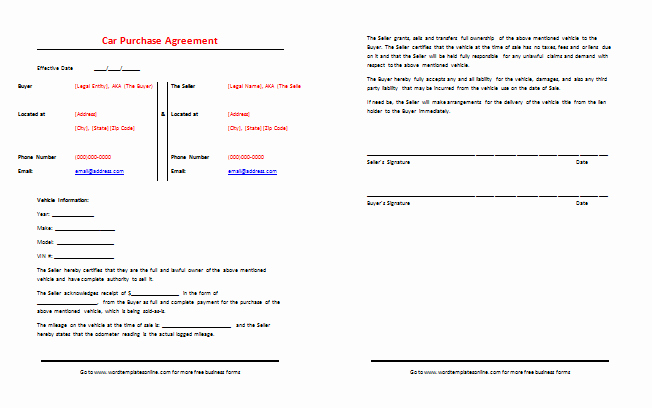 Car Sale Agreement Word Doc Luxury Car Purchase Agreement Template Best Samples