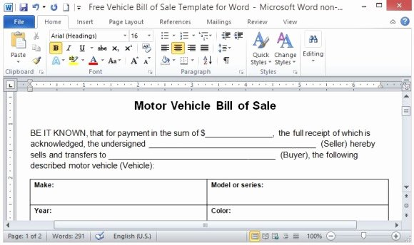 Car Sale Agreement Word Doc Luxury Free Vehicle Bill Sale Template for Word