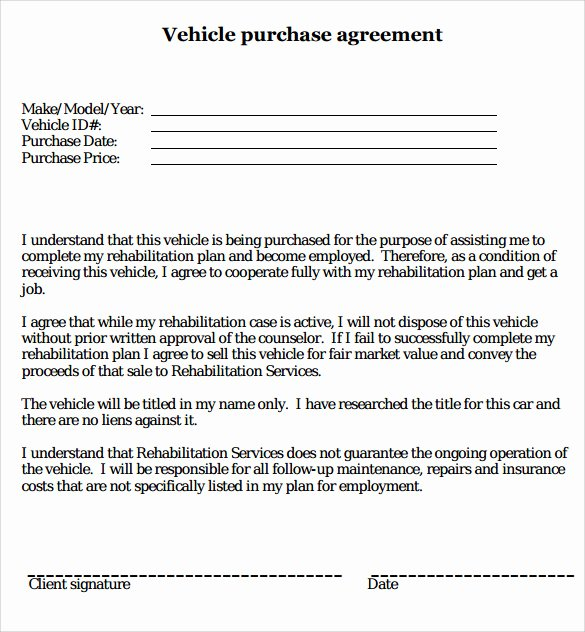 Car Sale Agreement Word Doc Luxury Printable Vehicle Purchase Agreement
