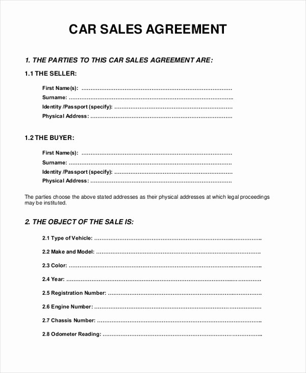 Car Sale Agreement Word Doc Unique Sample Sales Agreement form 10 Free Documents In Pdf Doc