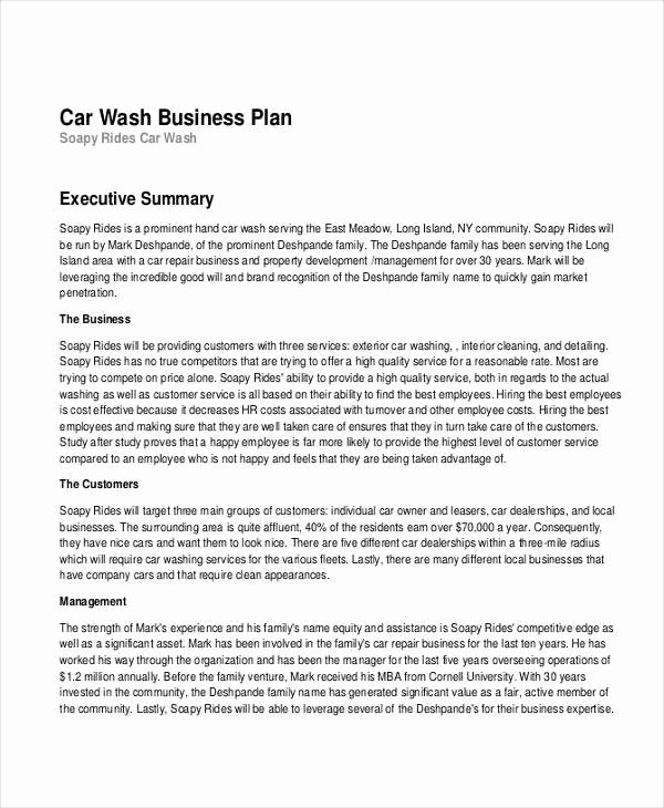 Car Wash Business Plan Awesome Free 16 Business Plan Examples In Pdf