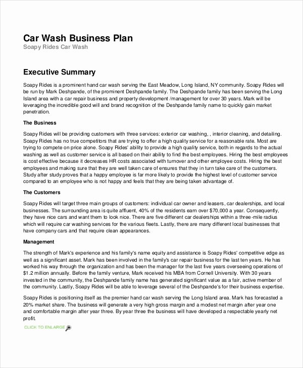 Car Wash Business Plan Inspirational 26 Business Plans Free Sample Example format