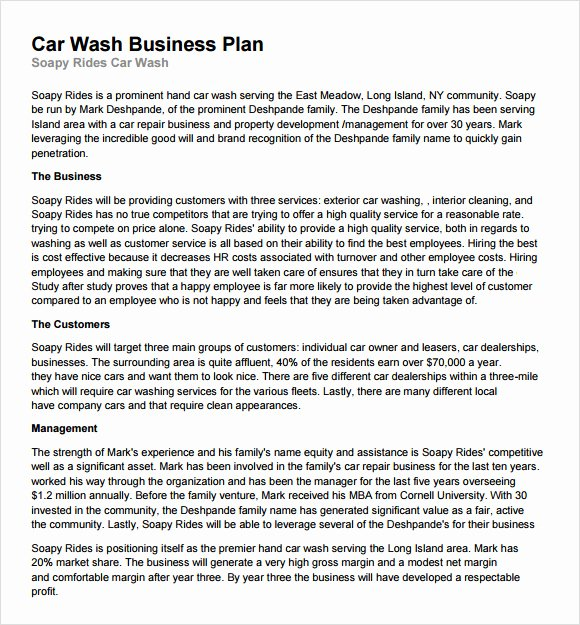 Car Wash Business Plan Inspirational Free 13 Car Wash Business Plan In Google Docs