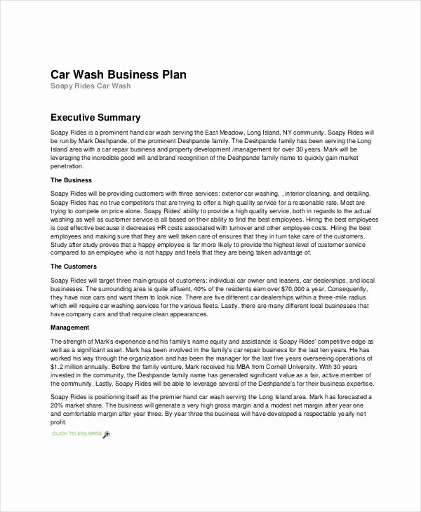 Car Wash Business Plan Inspirational Free 28 Simple Business Plan Examples In Pdf