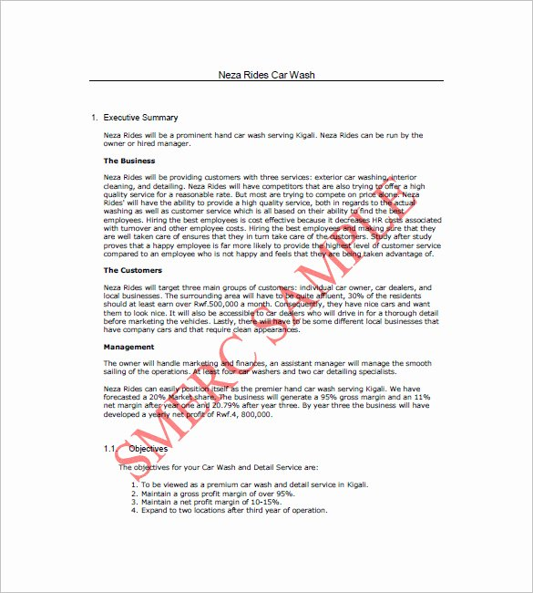 Car Wash Business Plan Lovely 16 Car Wash Business Plan Template Free Word Excel Pdf