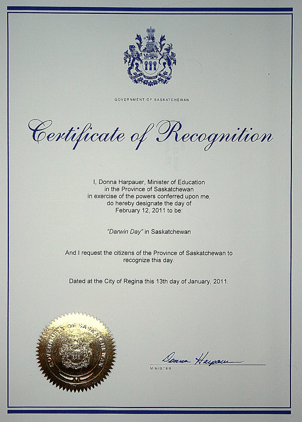 Certificate Of Appreciation Wording Awesome Celebrating Darwin Day In Saskatchewan events Media