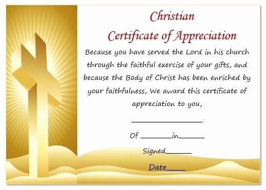 Certificate Of Appreciation Wording New Christian Certificate Appreciation Template