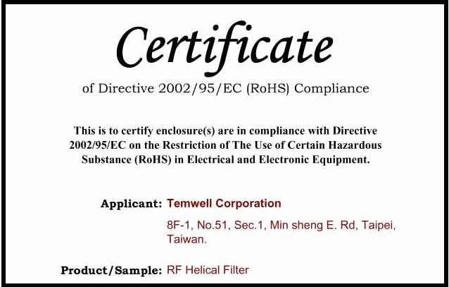 Certificate Of Compliance Template Best Of Temwell Corporation