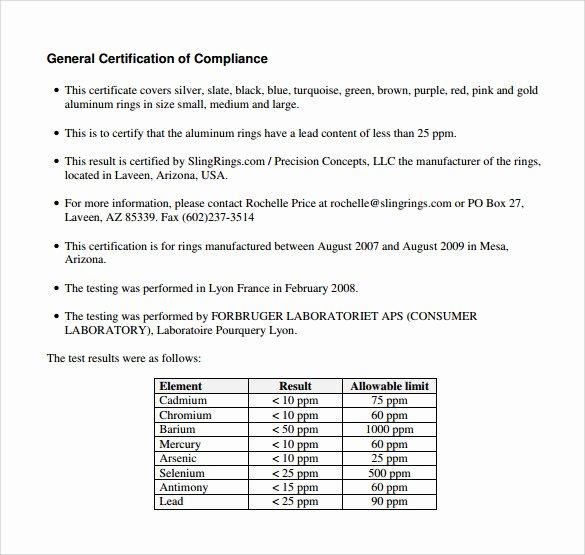 Certificate Of Compliance Template Lovely Sample Certificate Of Pliance 25 Documents In Pdf