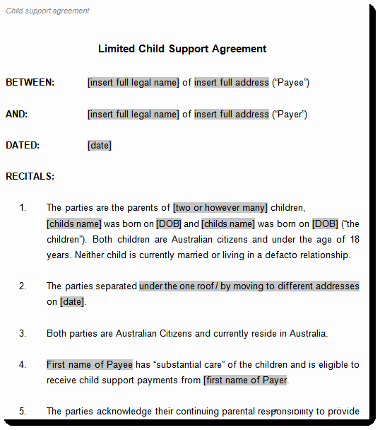Child Support Agreement Template Awesome Child Support Agreement Template to Document Arrangements