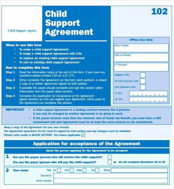 Child Support Agreement Template Awesome Sample Child Support Agreement 7 Example format