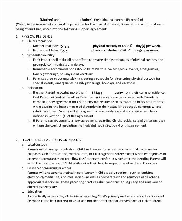 Child Support Agreement Template Elegant 10 Child Support Agreement Templates Pdf Doc