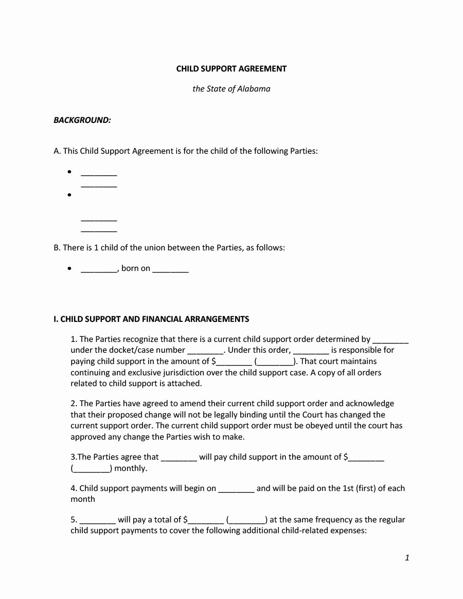 Child Support Agreement Template Fresh 32 Free Child Support Agreement Templates Pdf & Ms Word