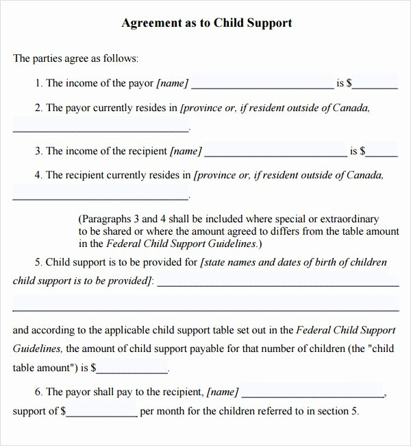 Child Support Agreement Template New Child Support Agreement 5 Free Pdf Download