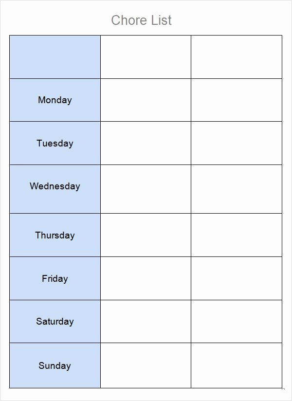 Chore List for Adults Awesome Free 7 Chore List Templates In Word Excel