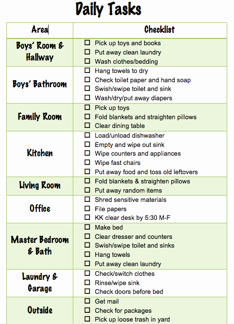 Chore List for Adults Fresh Daily Chore Checklist for Family Of Four