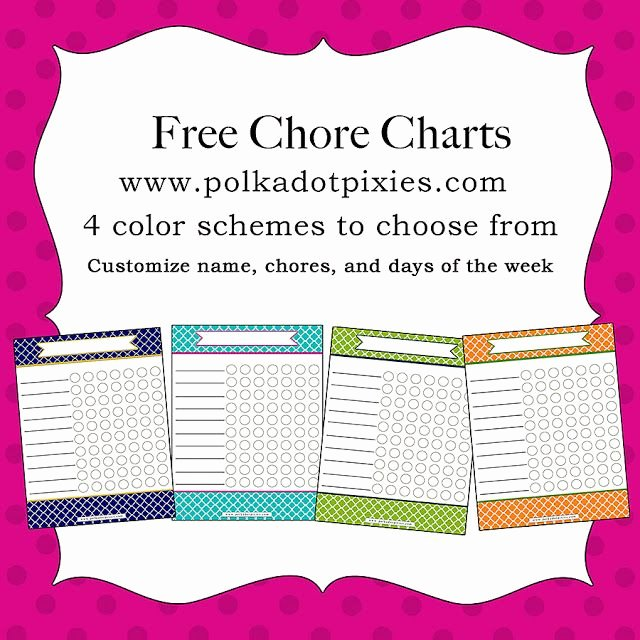 Chore List for Adults New Polka Dot Pixies Free Chore Chart