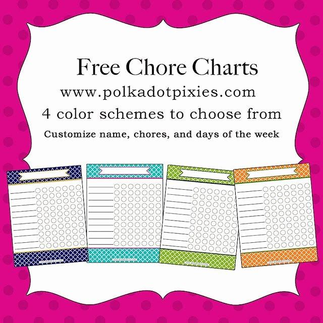 Chore List for Adults New Polka Dot Pixies Free Chore Chart