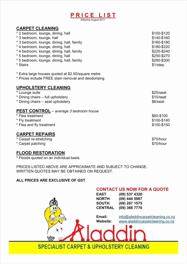 Cleaning Services Price List Template Awesome 8 Cleaning Price List Templates Free Word Pdf Excel