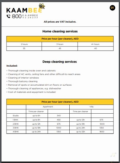 Cleaning Services Price List Template Awesome Free 10 Best Cleaning Services Price List Examples