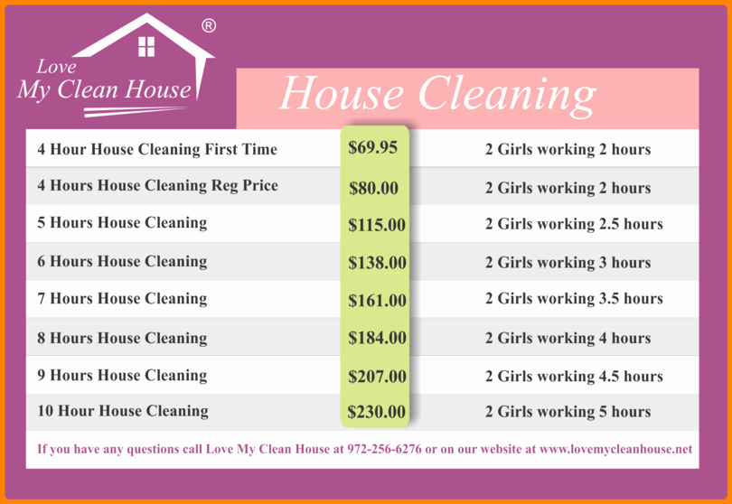 Cleaning Services Price List Template Fresh 7 Maid Service Price List